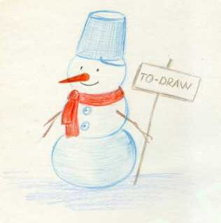 How to a draw a snowman in stages by pencil.