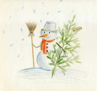 How to draw a snowman with Christmas tree pencil step by step?