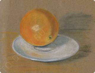How to draw an orange on a plate pastel pencils in stages? Lesson pastels.